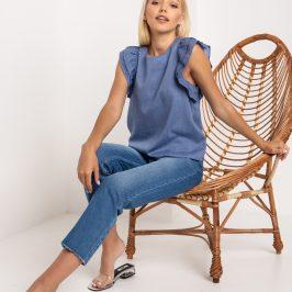 Жіноча сорочка з джинсової тканини.